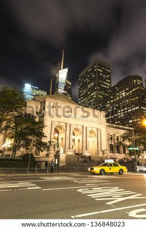 New York City Public Library at Night - stock photo