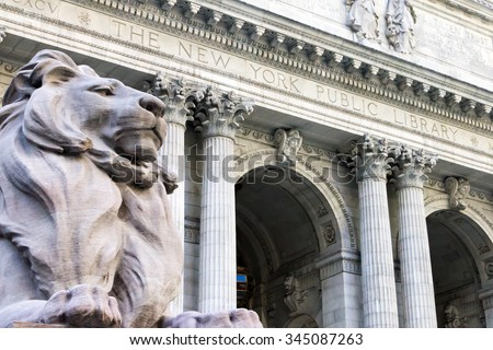New York City Public Library Entrance in Manhattan - stock photo