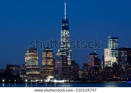 New York City's Freedom Tower at Dusk - stock photo