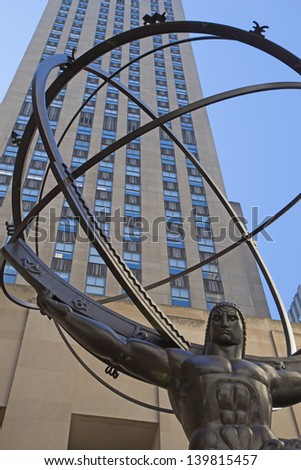 NEW YORK CITY - SEP 19: Atlas is a bronze statue in front of Rockefeller Center. It was created by sculptors Lee Lawrie and it was installed in 1937.September 19, 2012  in Manhattan, New York City. - stock photo