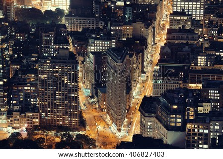 New York City - SEP 11: Flatiron Building closeup at night on September 11, 2015 in New York City. It is one of the most iconic skyscrapers and the symbol of New York City. - stock photo