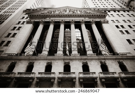 NEW YORK CITY - SEP 5: New York Stock Exchange closeup on September 5, 2014 in Manhattan, New York City. It is the world's largest stock exchange by market capitalization of its listed companies. - stock photo