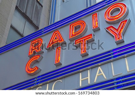 NEW YORK CITY - SEP 19: The Music Hall seats 6,000 people. Its interior was declared a New York City landmark in 1978. September 19, 2012  in Manhattan, New York City.  - stock photo