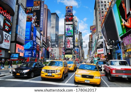 NEW YORK CITY - SEP 5: Times Square with traffic September 5, 2009 in Manhattan, New York City. It is featured with Broadway Theaters and LED signs and a symbol of New York City and the United States - stock photo