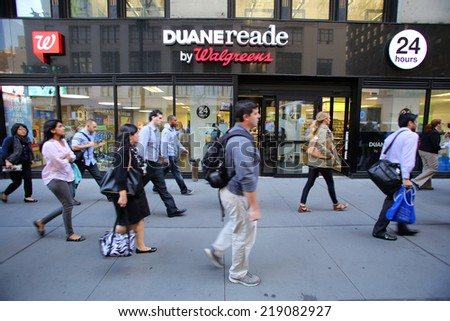 NEW YORK CITY - SEPT. 10, 2014: A Duane Reade pharmacy in New York City on September 10, 2014. Duane Reade is a division of Walgreens - stock photo