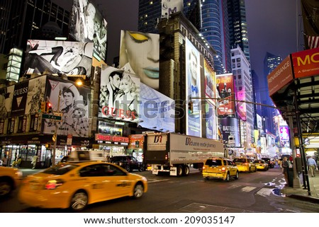 NEW YORK CITY - SEPT 27: Times Square, featured with Broadway Theaters, Taxi Cabs and animated LED signs, is a symbol of New York and the United States, September 27, 2011 in Manhattan, New York City - stock photo