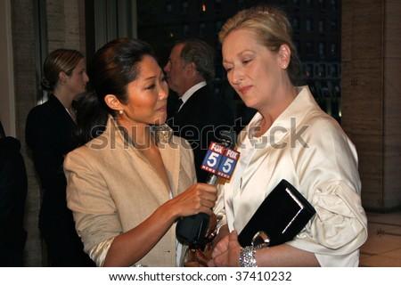 NEW YORK CITY - SEPTEMBER 16: Actress Meryl Streep (R) enjoying the NYC philharmonic opening night gala September 16, 2009 in New York. - stock photo