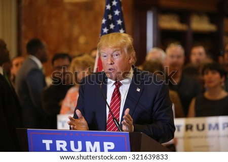 NEW YORK CITY - SEPTEMBER 28 2015: Businessman & Republican presidential candidate Donald Trump unveiled his plan for comprehensive tax reform during a press conference at Trump Tower - stock photo