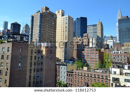 NEW YORK CITY - SEPTEMBER 14: Midtown in Manhattan, pictured on September 14, 2012, was hit hard by Hurricane Sandy on October 29, 2012. Millions of residents were without electricity. - stock photo