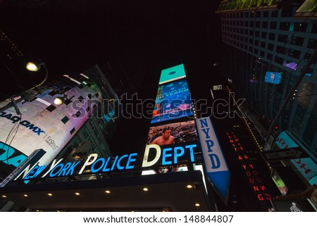 NEW YORK CITY - SEPTEMBER 26: NYPD sign. The New York City Police Department, established in 1845, is the largest municipal police force in the United States on September 26, 2012 in New York - stock photo