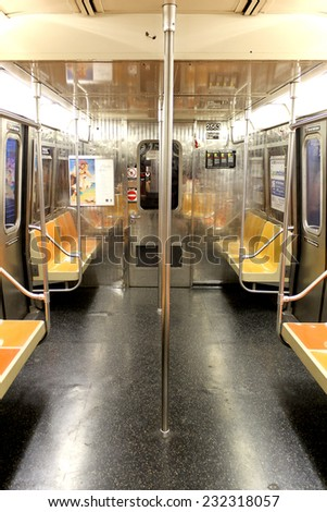 NEW YORK CITY - SEPTEMBER 01: Subway wagon on September 01, 2013 in New York City. The NYC Subway is one of the oldest and most extensive public transportation systems in the world, with 468 stations. - stock photo