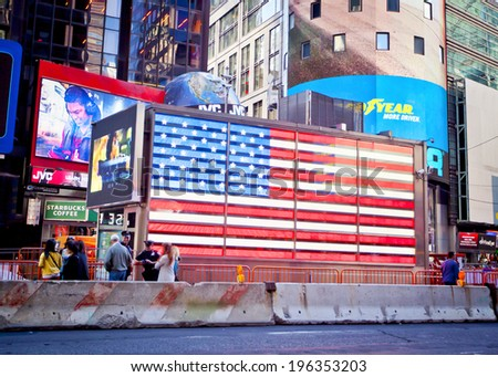 NEW YORK CITY - SEPTEMBER 22: Times Square, famous tourist attraction in New York City, September 22, 2013. - stock photo