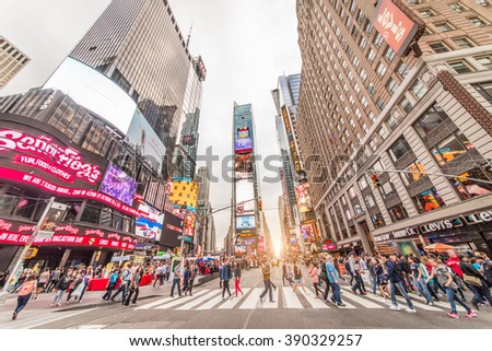 NEW YORK CITY - SEPTEMBER 27, 2015: Times Square, featured with Broadway Theaters and LED signs, is a symbol of New York City and the United States  in Manhattan, New York City. USA. - stock photo