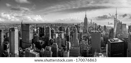 New York City skyline, aerial panorama view - stock photo