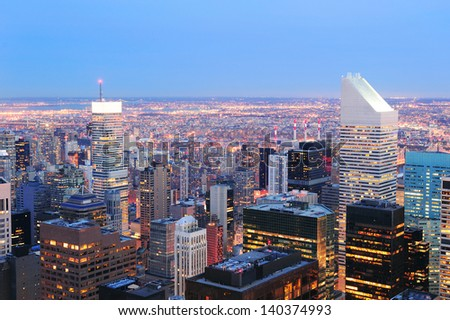 New York City skyline aerial view at dusk with skyscrapers of midtown Manhattan. - stock photo