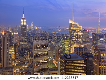 New York City skyline at dusk - stock photo