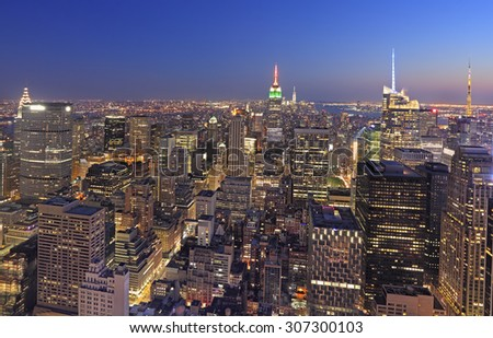 New York City skyline at dusk, NY, USA - stock photo