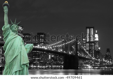 New York City Skyline, Brooklyn Bridge and The Statue of Liberty - stock photo