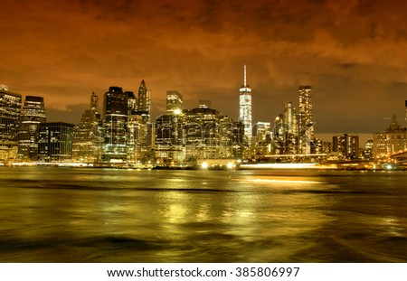 New York City skyline by night, USA - stock photo