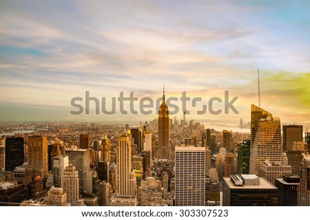 new york city skyline for background - stock photo