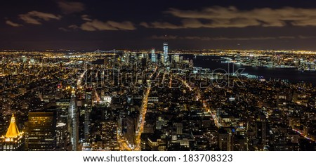 New York City skyline from Empire State Building - stock photo