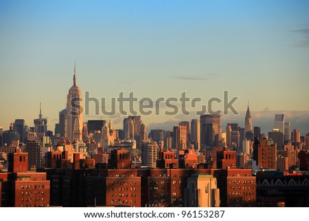 New York City Skyline in black and white - stock photo