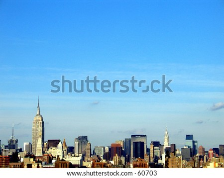 new york city skyline - lower manhattan and Empire State Building - stock photo