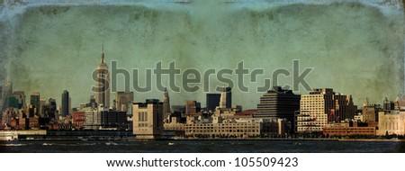 New York City skyline, Lower Manhattan, with digital grunge effect. - stock photo