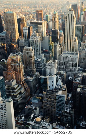 New York City skyline. Manhattan aerial view. - stock photo