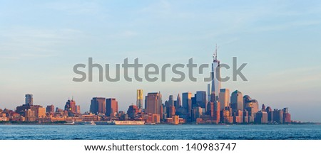 New York City, skyline panorama of lower downtown Manhattan business district, world trade center and wall street - stock photo