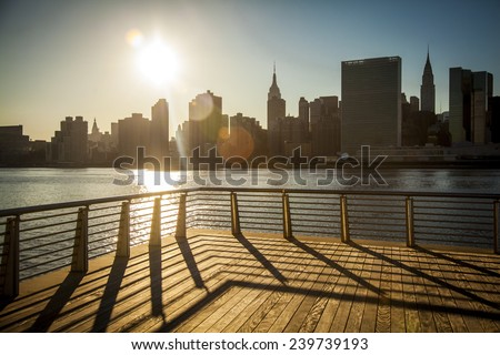 New York City skyline. View from Long Island City - stock photo