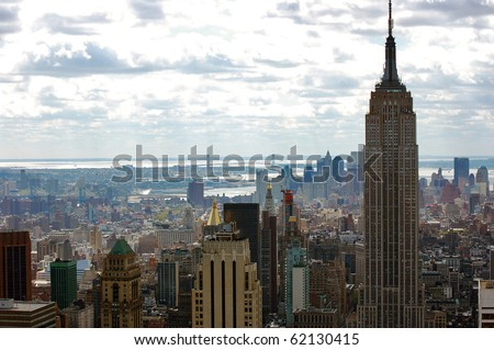 New York City skyline with the Empire State Building. - stock photo