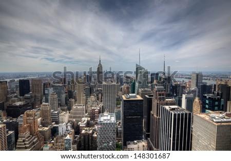 New York City skyline with urban skyscrapers - stock photo