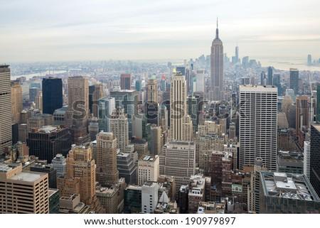 New York City skyline with urban skyscrapers USA. - stock photo