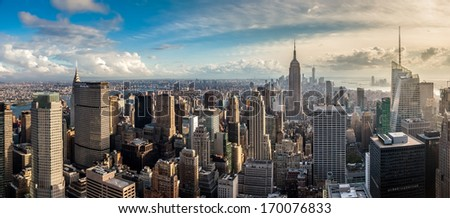 New York City skyscrapers, aerial panorama view - stock photo