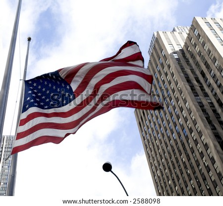 New York City Skyscrapers and American Flag - stock photo