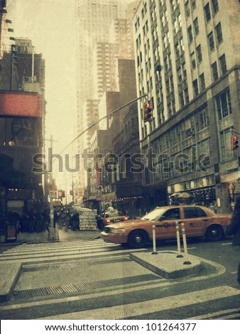New York city. Street. Old style image - stock photo