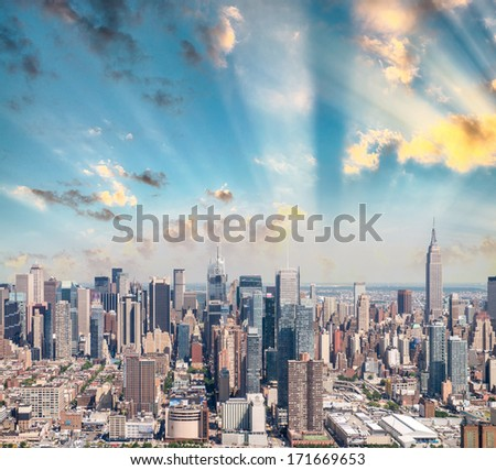 New York City. Stunning Manhattan skyline, aerial view. - stock photo