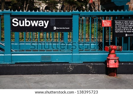 New York City Subway. Iconic street level platform at Manhattan subway stop. - stock photo