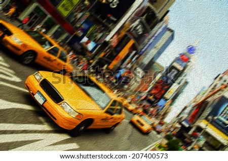 New York City Taxi, Times Square oil painting - stock photo