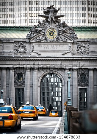 New York City taxi traffic on the way to Grand Central Terminal  - stock photo