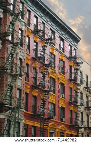 New York City Tenement building - stock photo