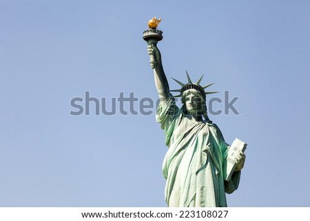 new york city: the statue of liberty, an american symbol - stock photo