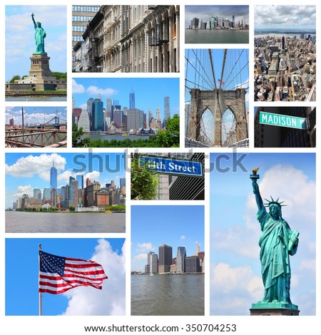 New York City travel collage - photo set with Statue of Liberty, Manhattan Skyline and Madison Avenue. - stock photo