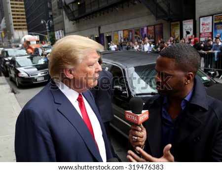 NEW YORK CITY - TUESDAY, SEPTEMBER 22, 2015: Republican presidential candidate Donald Trump arrives for a taping of CBS television's The Late Night with Steven Colbert.  - stock photo