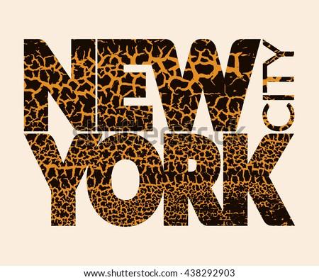 New York city Typography Graphic. Skyline Manhattan. Fashion stylish retro design. Craquelure for t shirt and sports wear. NYC logo. Label USA. Vintage print apparel, card, poster. illustration - stock photo