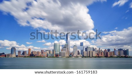 New York City under dramatic clouds - stock photo