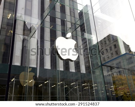 New York City, United States America - November 15, 2013: Glass entrance to the Apple Store in New York, United States - stock photo