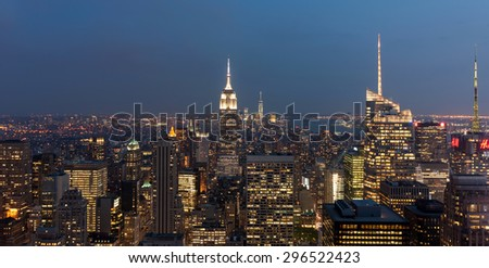 New York city, United states - July 07, 2015 - Cityscape of Manhattan, New York, USA at night - stock photo