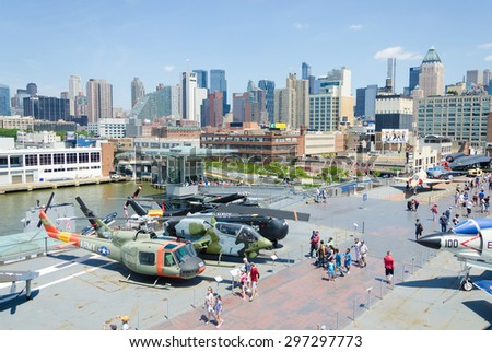 New York city, United States. July 10, 2015. Intrepid museum in New York. The USS Intrepid hosts the Intrepid Sea, Air and Space Museum in New York City - stock photo